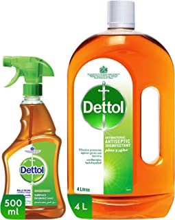 Dettol Original Antiseptic Twin Pack - Anti-Bacterial Surface Trigger 500ml + Antiseptic 4L