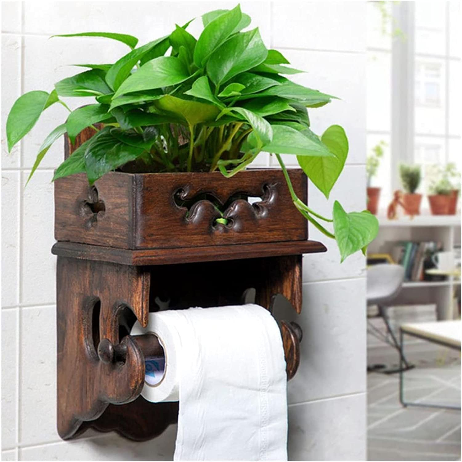 Chuyuhao Toilet gift Paper Holder Vintage Toile Wood Rack Easy-to-use Towel
