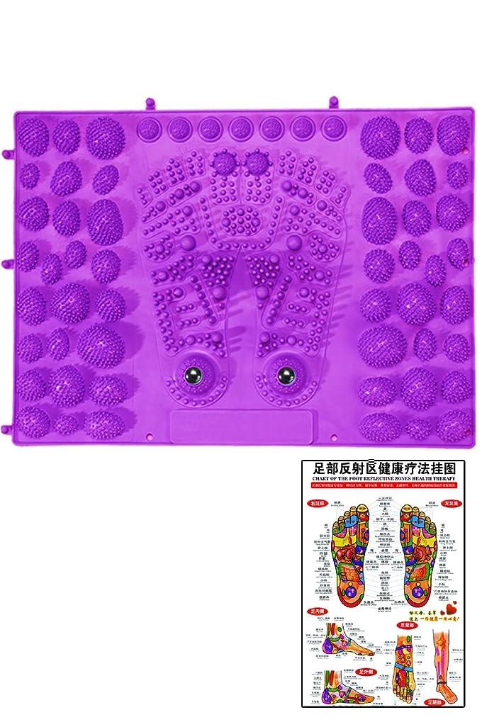 皮肉延期する死傷者(POMAIKAI) 足型 足ツボ 健康 マット ダイエット 足裏マッサージ 反射区 マップ セット (パープル)