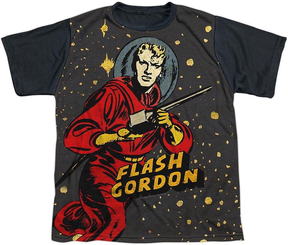 Flash Gordon Comics Hero Gordon In Space Boys Youth Black Back T-Shirt Tee