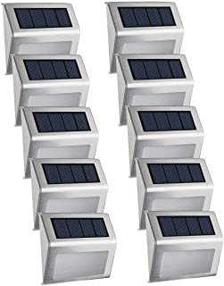 Solar Powered Deck Lights, EASTERNSTAR 4 LED Outdoor Stainless Steel Waterproof Step Lights Wireless White Lighting for Fence,Path, Patio, Stair-10 Pack
