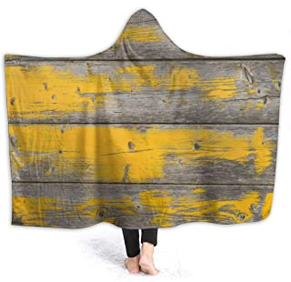EJudge Hooded Blanket Yellow Color Wooden Textures Wearable Fleece Blankets Soft Warm for Kid Adults Women Men Throw Cuddle Poncho Cloak Cape 50 x 40 inch