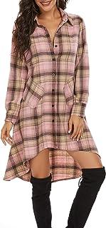 Womens New Plaids Irregular Hem Casual Shirt Dress