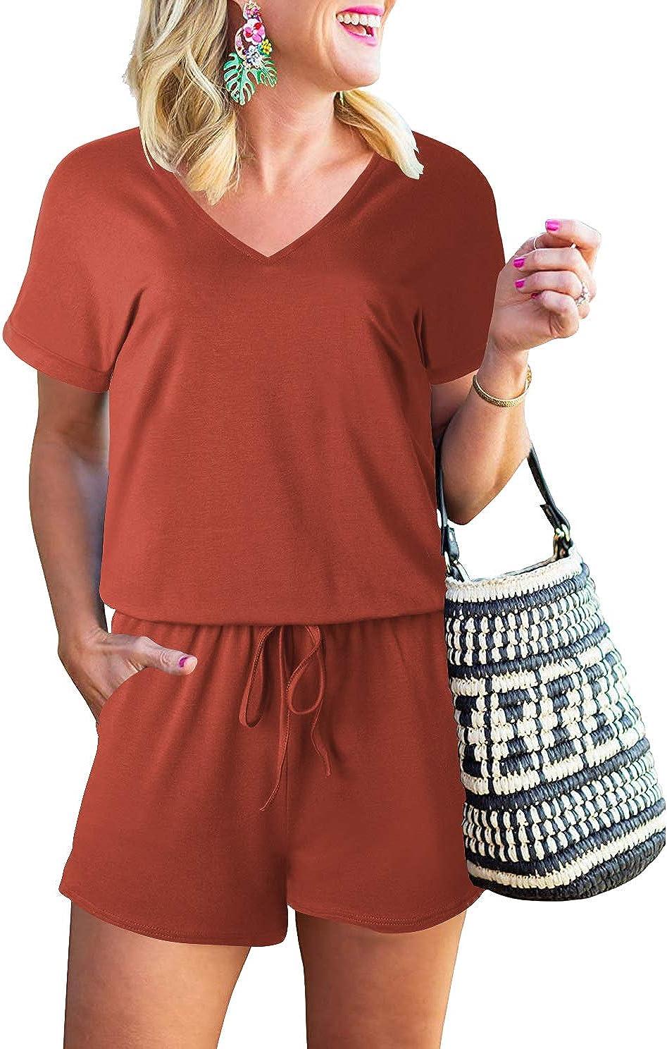 MILLCHIC Women's Summer Casual Loose Jumpsuit V Neck Short Sleev