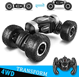 Remote Control Car,RC Cars for Kids Turn Over Truck Toy Vehicles Electric Off-Road Climber Truck Twisted Cars for Any Terrain 4-Wheel Drive High-Speed Buggy Rechargeable RC Stunt Car Boys Outdoor Toy