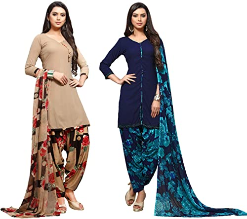 Ethnic Junction Women s Crepe Printed Unstitched Dress Material Combo Pack Of 2 Multicolor