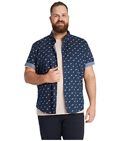 Johnny Bigg Big Tall Flamingo Print Shirt (Navy) Men