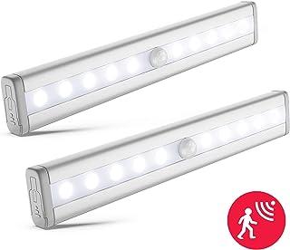 luz nocturna más versátil, 10 leds con 80lm, detector de movimiento, 19x3cm, Pack de 2, con banda magnética, Funciona con 4 pilas AAA (no incl.)