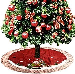 AUZZO HOME 48 Pouces Jupe Arbre de Noël avec 3 Velcro Mignon Jupe en Velours de Bonhomme de Neige pour la décoration de Vacances de Noël - Grand Cadeau