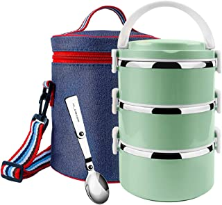 Stackable Bento Box Stainless Steel Thermal Lunch Box Leakproof Food Storage Containers with Insulated Lunch Bag for Adults&Kids&School (3-Tier,Green)