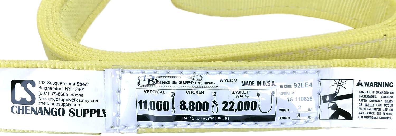 46,000 Basket 4x10 4 Ply Slings 18,000 Choker Heavy Duty 23,000 lbs Vert High Capacity Eye /& Eye USA Made Many Lengths in Listing! 4x 10 Nylon Lifting Web Sling