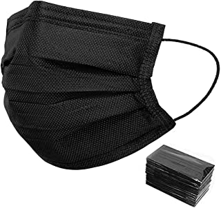 50 Pack Individually Wrapped Disposable Black Face Mask Cover for Adults, Dustproof Filter Cover, Single Use 3 Ply Protectors with Elastic Earloops Dustproof Filter Cover