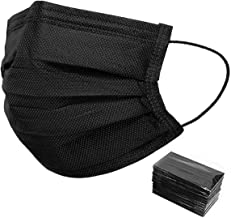 Individually Packaged 50 Pack Black Disposable Face Masks - Unisex Oral Protection Black Mask - 3 Ply Protectors with Elas...