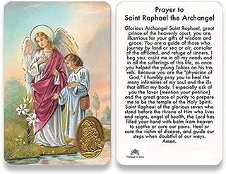 St Saint Raphael The Archangel Prayer Card with Medal