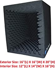 جعبه غرفه آوازی ضبط صدا قابل حمل TroyStudio - | فیلتر بازتابی و جداسازی میکروفون روبرو | - | فوم جاذب بزرگ ، تاشو ، قابل نصب ، فوق العاده متراکم و صدا (| سیاه)