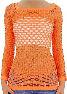 TD Women's Elastic Nylon-Spandex Long Sleeve Fishnet Layer Blouse Top