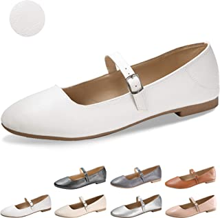 CINAK Flats Mary Jane Shoes Women s Casual Comfortable Walking Buckle  Classic Ankle Strap Style Ballet Slip e1d285a18