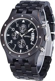 Bewell 木製腕時計 メンズ ウッドウォッチ ビジネス 軽量 アナログ 腕時計 生活防水 日本製クォーツ 木の時計 金属アレルギーなし(黑檀)