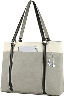 حقيبة يد نسائية لحمل الكمبيوتر المحمول للعمل خفيفة الوزن من قماش لصق 15.6 بوصة حقيبة يد كبيرة رمادية S306923
