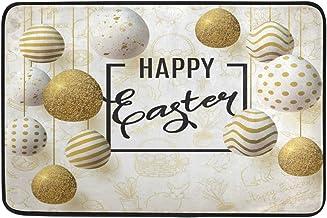 JSTEL Nonslip Door Mat Home Decor, Happy Easter Golden Eggs Durable Indoor Outdoor Entrance Doormat 23.6 X 15.7 Inches