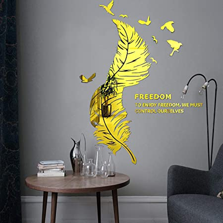 3D Mirror Tiles Feather Design Wall Stickers Self  Adhesive Home Bedroom Decal