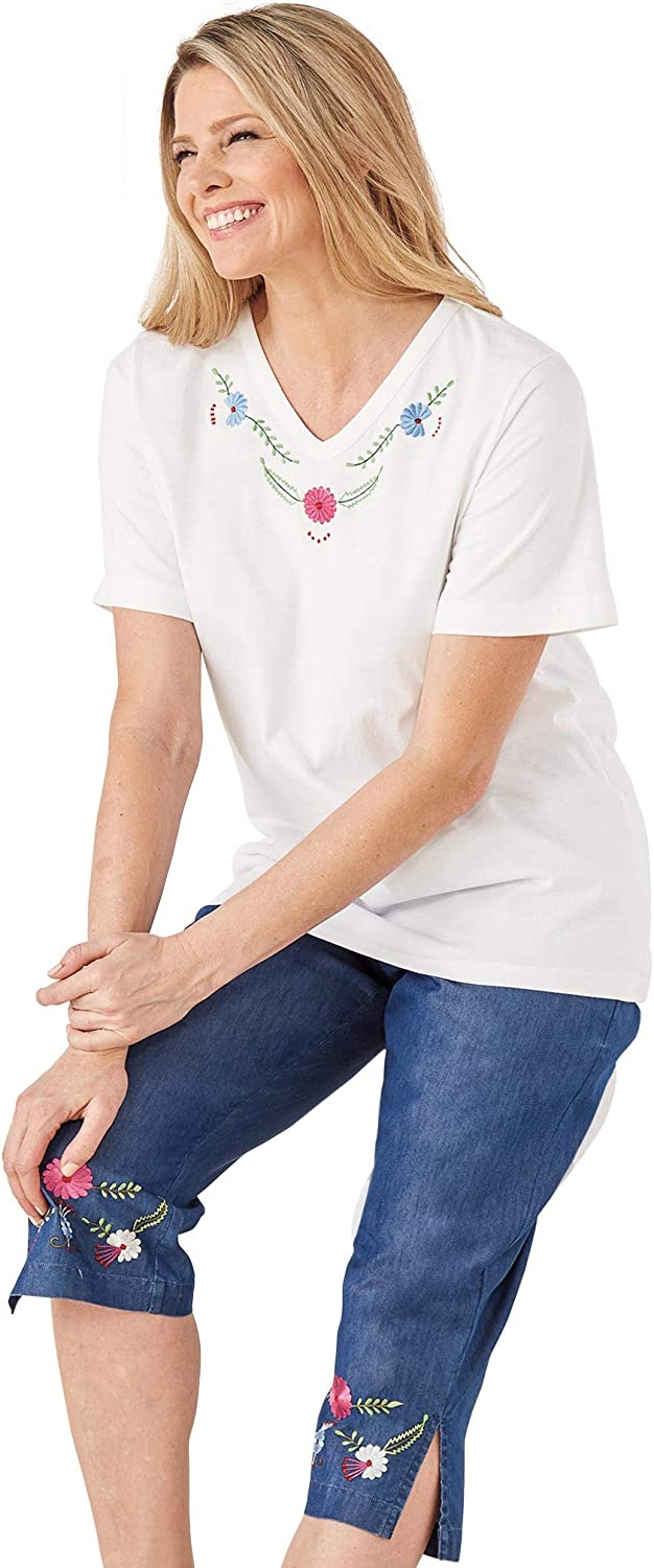 AmeriMark Women's Embroidered Tee and Denim Capris 2 Piece Outfit