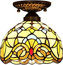 Tiffany Style Ceiling Light,Stained Glass Baroque Flush Mount Ceiling Lamp,European Retro Ceiling Lighting Fixtures for Li...