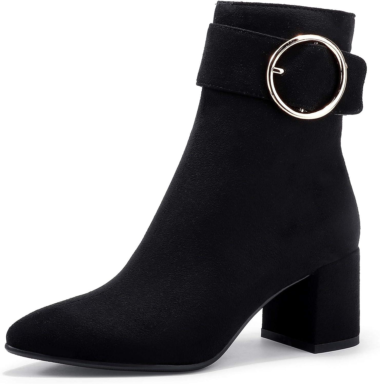 IDIFU Women's Lori Pointed Toe Chunky High Heel Ankle Booties Metal Ring Zipper Short Boots