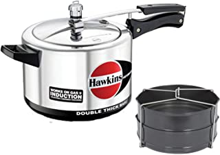 Hawkins Hevibase 5 LTR Silver Pressure Cooker with Hard Anodised 2 Pc Separater Cooker Dabba and Stand