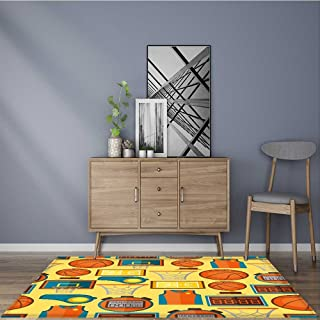 Collection Area Rug sports seamless pattern with basketball icons in flat style Ideal Anti Slip Rug Pad 5' X 7'