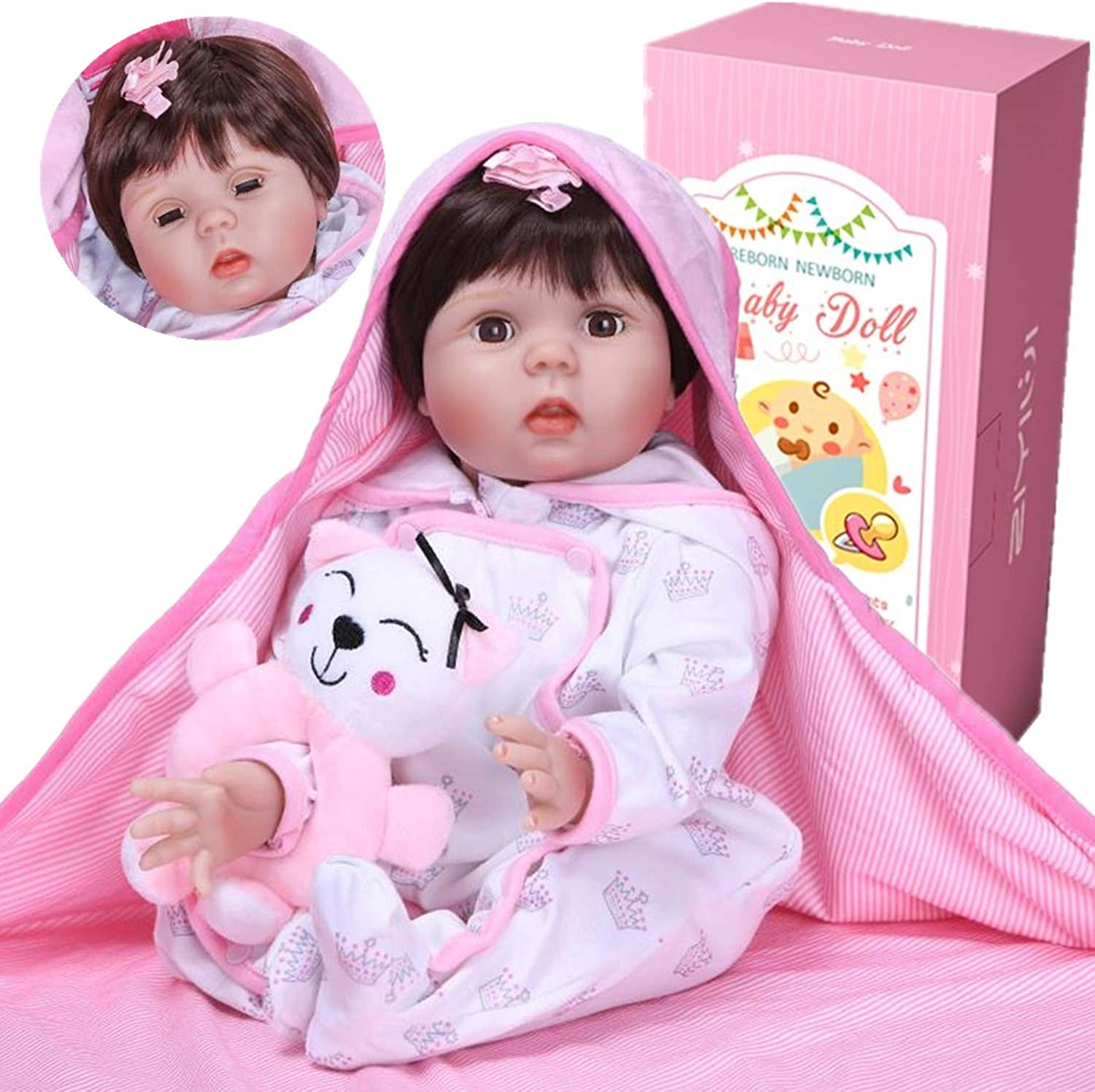 ZIYIUI Realistic Doll able to blink Babies Reborn Baby Dolls Girl Lifelike Silicone Toddler Magnetic Mouth Kids Toys Gifts 22 Inches