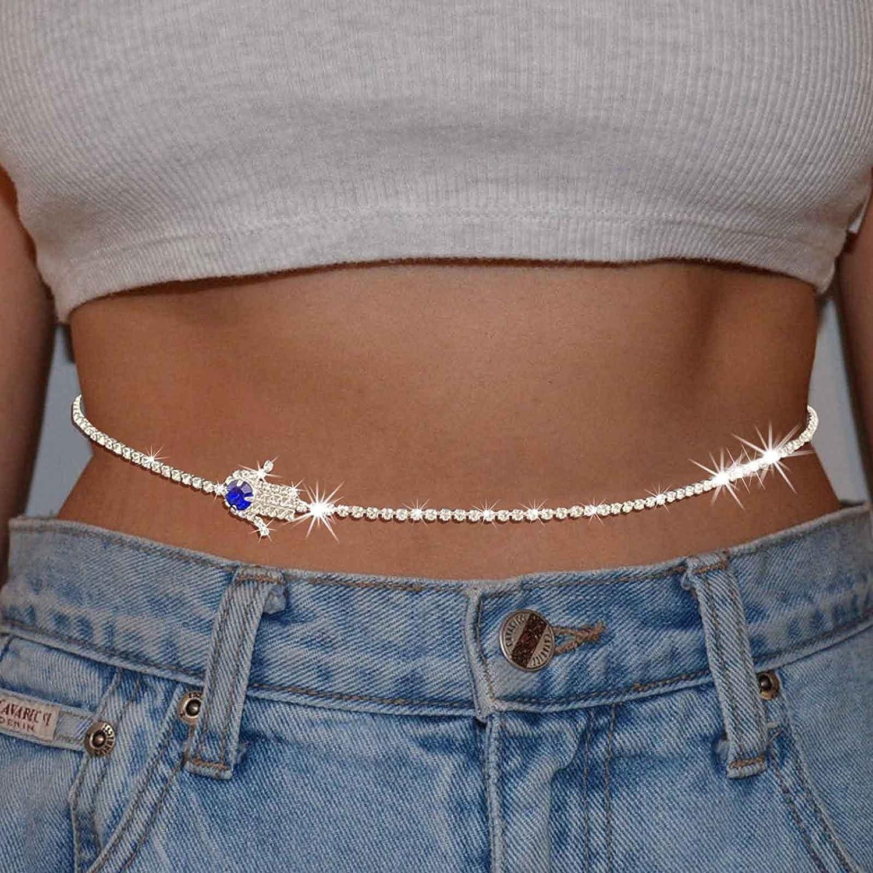 Kakaco Waist Chain Crystal Evil Eye Gold Belly Body Chain Hamsa Hand Rhinestone Bikini Body Accessories Jewelry for Women and Girls