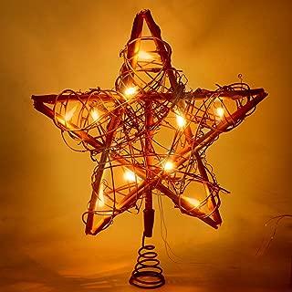 NEWBE 10 LED Lights Christmas Star Tree Topper,Rattan Rustic Christmas Tree Topper for Home Decorations