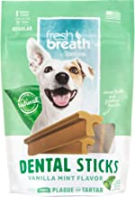 Fresh Breath by TropiClean Dental Sticks for Large Dogs (25+ Pounds), 8ct, 8oz - Made in USA - Removes Plaque & Tartar