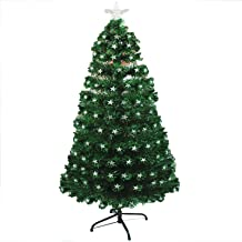 Fibre Optic Christmas Tree, Artificial Green Xmas Tree with Metal Stand,Five-Pointed Star Multi-Function Christmas Tree,fo...