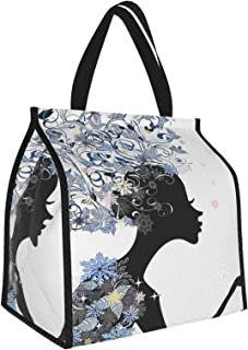 Y-shop Girls Illustration of A Flower Haired Girl and Snowflakes Decorative Pattern ES Black and Slate Blue Picnic Freezer...