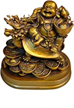 Feng Shui Laughing Buddha, Vaastu Showpiece, Happy Sitting Laughing Buddha Decoration, Lucky Laughing Buddha with Lucky Mo...