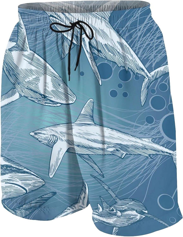 Vicious Shark Teen Boys Quick Dry Surf Swim Trunk Print Youth Summer Beach Board Shorts