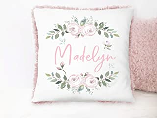 Girls Personalized Floral Pink Plush Decorative Nursery Pillow With Name
