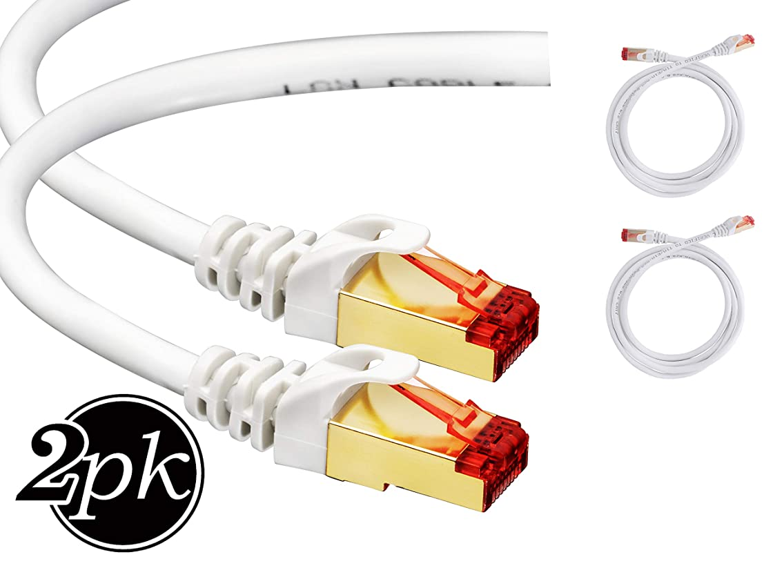 Cat7 Ethernet Cable 6 ft [2 Pack] RJ45 Connector - Double Shielded STP - 10 Gigabit 600MHz - Premium High Speed Network Wire Patch Cable LAN Cord – Cat 7 6 Feet / 1.8m