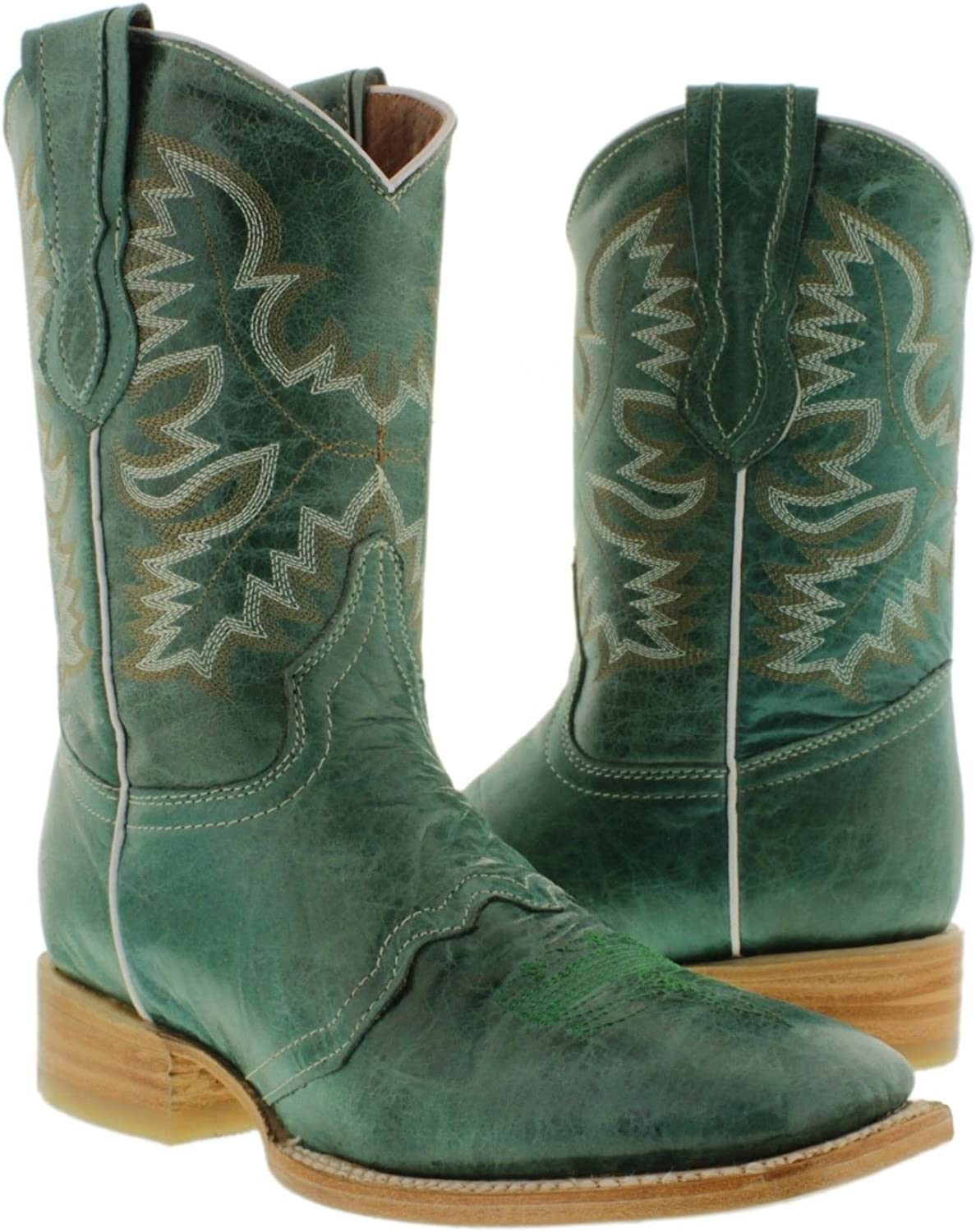 Women's Turquoise Mid Calf Leather Boots National uniform 35% OFF free shipping Cowboy Square T Western