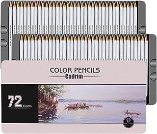 Set de 72 Lápices de Colores, Cadrim Crayones Soluble en agua para Artistas Adultos Colorear Libros o útiles Escolares para Niños, Ideal para Regalos de Navidad, con Cajas de Metal