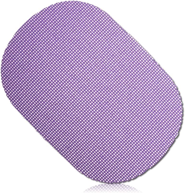 Unique Custom 14 X 19 Inch Bulk Pack Set Of 12 Oval Non Slip Grip Texture Large Reversible Table Placemats Made Of Washable Flexible PVC Plastic W Waffle Fishnet Netting Plum Design Purple