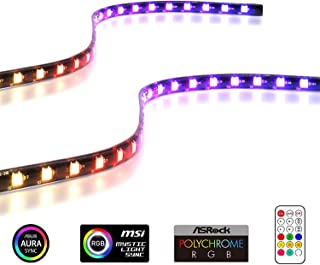 EASYDIY アドレス指定可能なRGB LEDストリップ リモコン付き+ RGBスプリッターケーブル, マグネット付きRGB LEDストリップ, PCコンピューターケース用(ASUS Aura Sync およびMSI Mystic Light Syncに対応)-2パック40CM