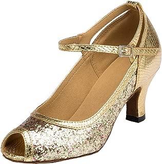 TDA Womens Peep Toe Mary Janes Sequins Latin Modern Salsa Tango Ballroom Wedding Dance Shoes