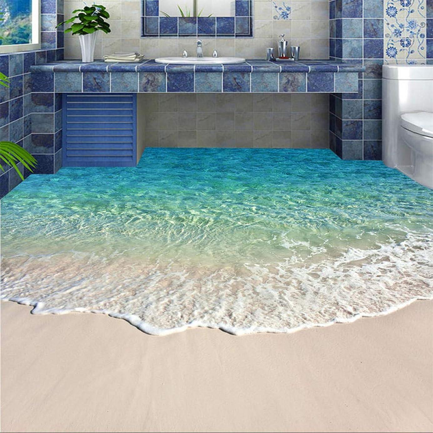 順番アシスト先生Ljjlm カスタム自己粘着床壁画写真壁紙3D海水波フロアーリングステッカー浴室着用滑り止め防水ウォールペーパー-120X100CM