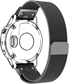 BMEIG Quick Release Replacement Band for Garmin Fenix 5X / Fenix 3 / 3HR / Descent MK1 Watch with Stainless Steel Magnetic Closure Loop Bracelet Strap (Black)