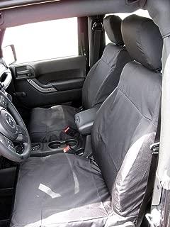 Exact Seat Covers, J1646 C1, 2011 Jeep Wrangler 2 Door Model Front Bucket Seats with Height Adjustment Lever Custom Exact Fit Seat Covers, Black Waterproof Endura