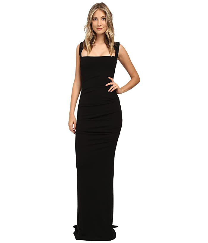 Nicole Miller Felicity Open Back Jersey Gown (Black) Women's Dress