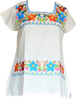 Autentic Traditional Women's Mexican Peasant Blouse Cotton Tops Shirt Embroidered on Looms of Mexican artisans (Small, Beige)